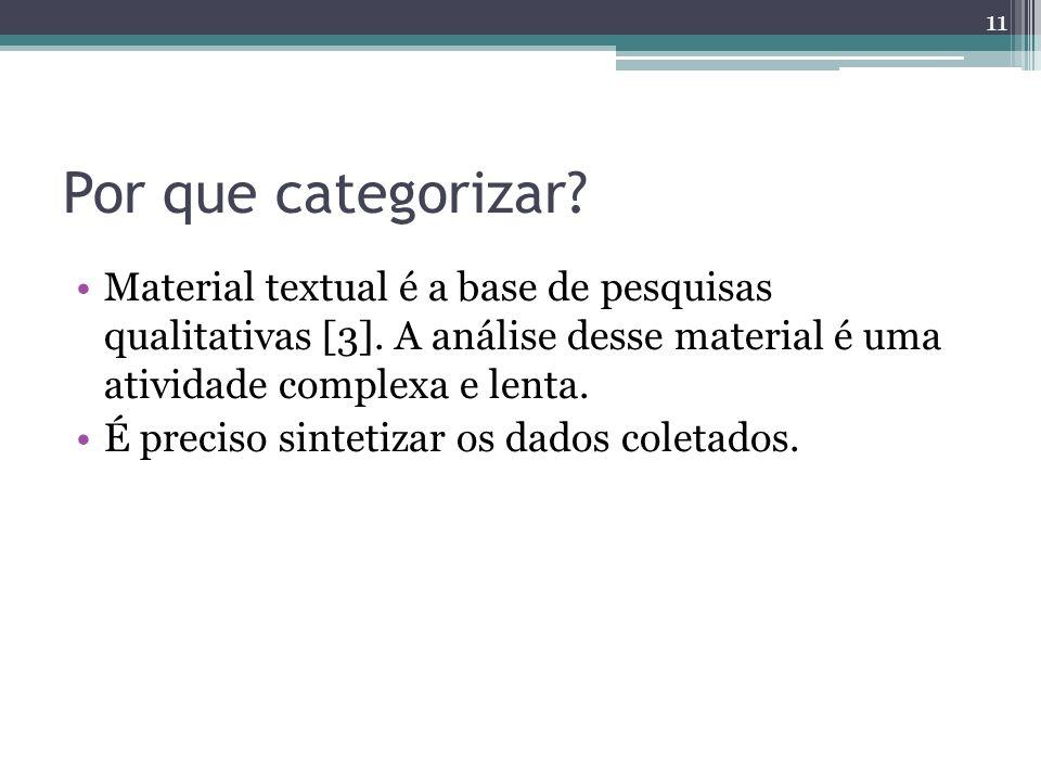 Por que categorizar Material textual é a base de pesquisas qualitativas [3]. A análise desse material é uma atividade complexa e lenta.